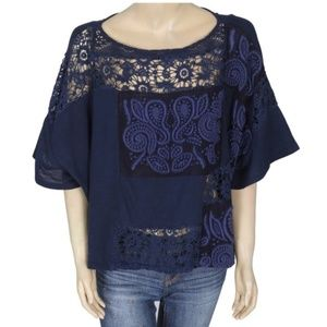 Anthropologie Akemi + Kin Embroidered Darrie Top M